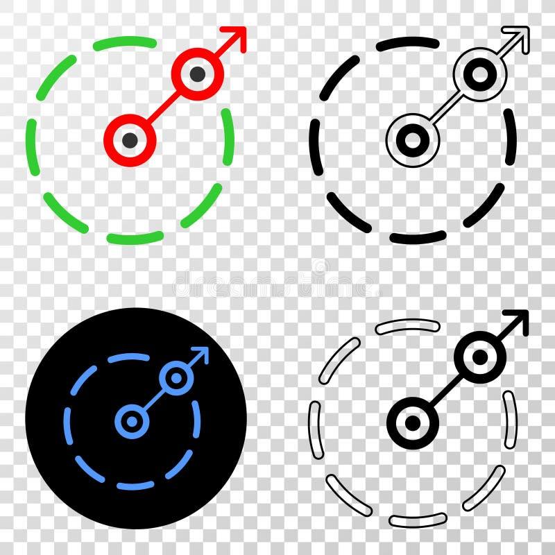 Radiell symbol för EPS för flyktgränsvektor med konturversion vektor illustrationer