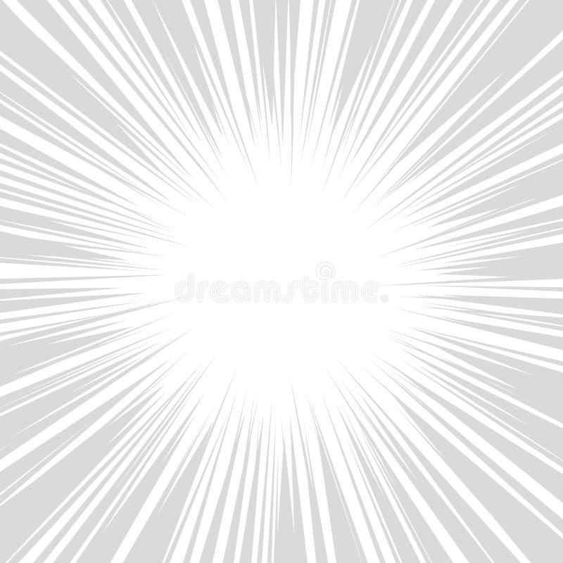 Radiella hastighetslinjer diagrameffekter för komiker vektor royaltyfri illustrationer