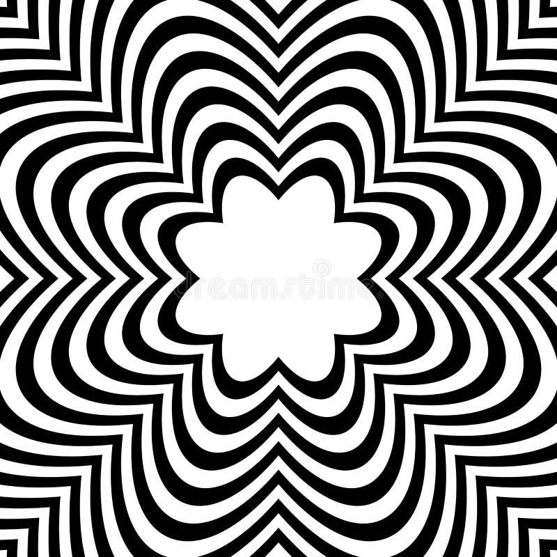 Radiellt geometriskt diagram med distorsionseffekt Ojämna radier royaltyfri illustrationer