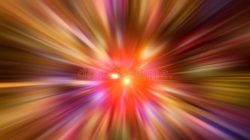 Radiellt suddigt abstrakt färgbakgrundsljus färgar rött, rosa, gult, blått, grönt, purpurfärgat royaltyfri bild