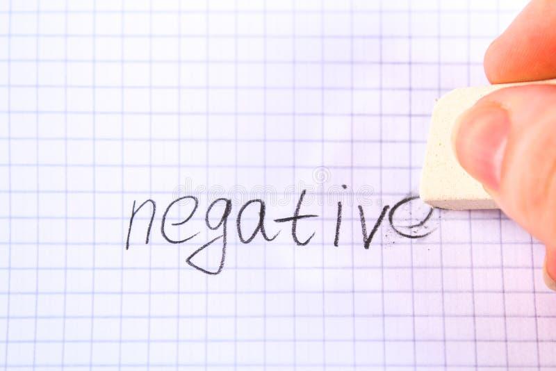 Radiergummi in der Hand, der auf das Blatt im Käfigwort löscht: negativ stockfotografie