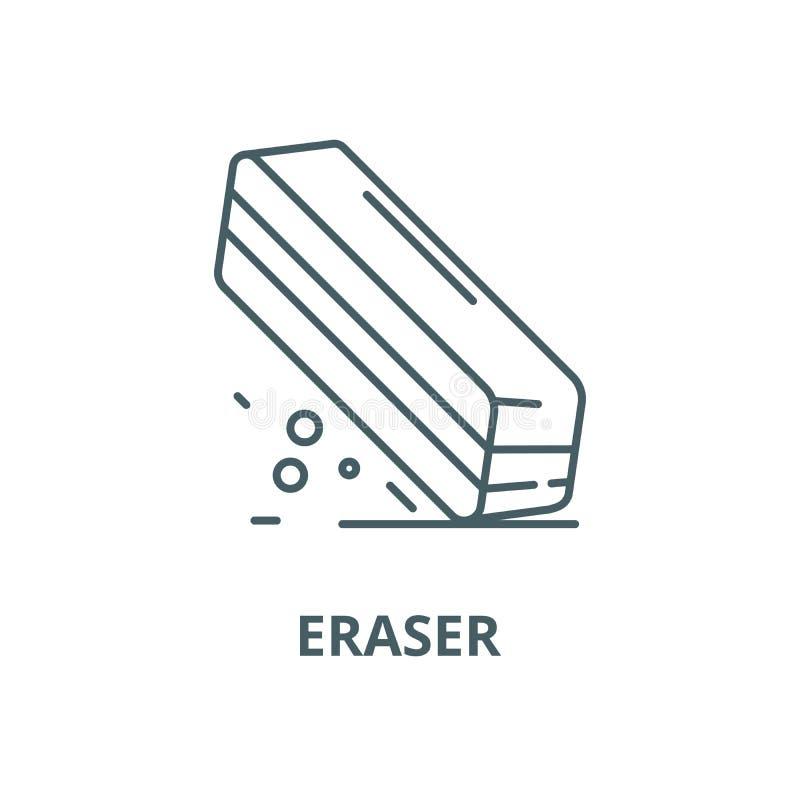Radiergummivektorlinie Ikone, lineares Konzept, Entwurfszeichen, Symbol stock abbildung