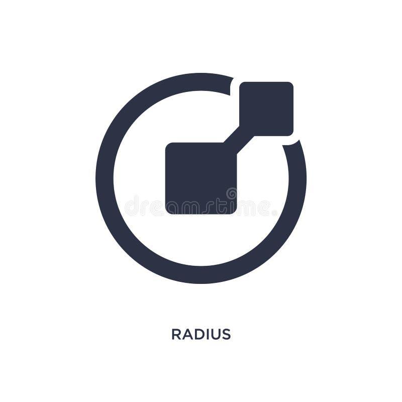 radiesymbol på vit bakgrund Enkel beståndsdelillustration från geometribegrepp royaltyfri illustrationer