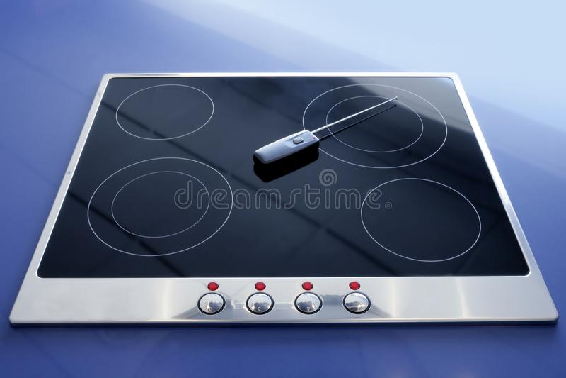 Radio électrique vitrocéramique de cuisine de poêle photo stock