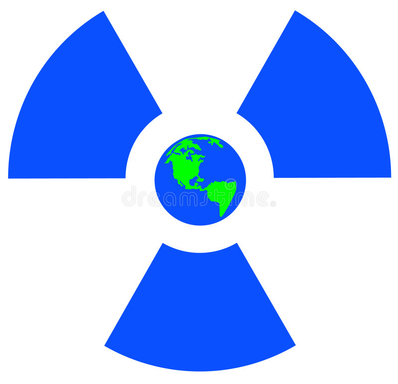 Radio active symbol with globe stock illustration