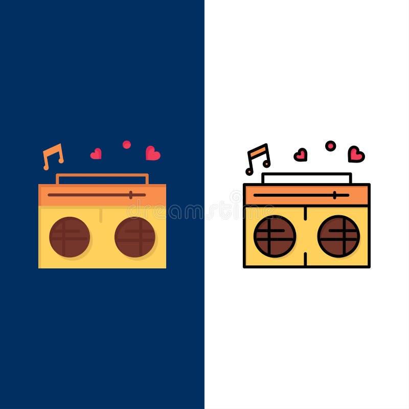 Radio, amour, coeur, épousant des icônes L'appartement et la ligne icône remplie ont placé le fond bleu de vecteur illustration stock