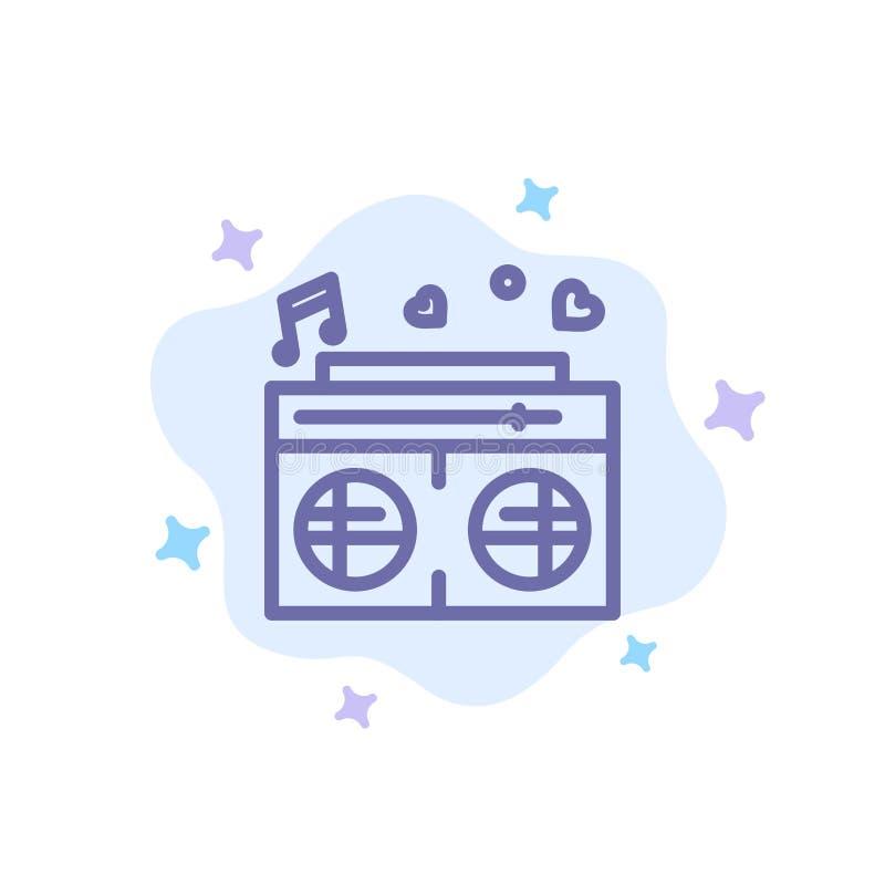 Radio, amour, coeur, épousant l'icône bleue sur le fond abstrait de nuage illustration stock