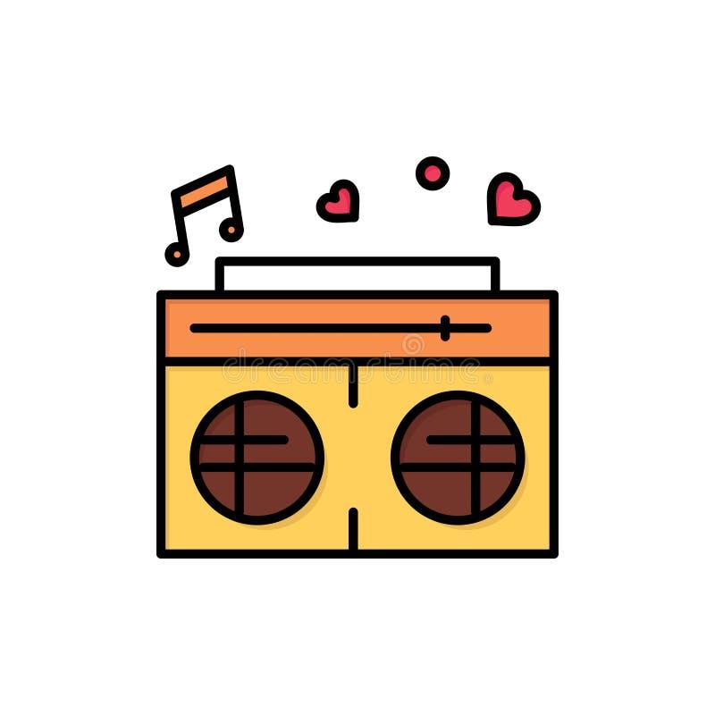 Radio, amour, coeur, épousant l'icône plate de couleur Calibre de bannière d'icône de vecteur illustration stock