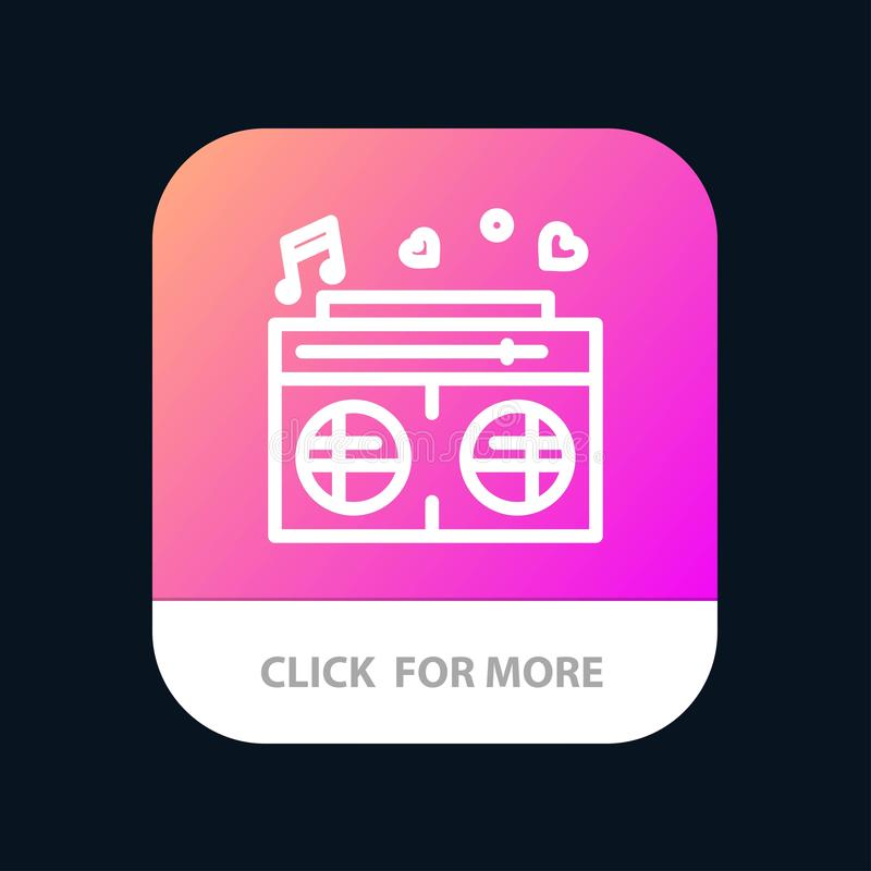 Radio, amour, coeur, bouton mobile d'appli de mariage Android et ligne version d'IOS illustration de vecteur