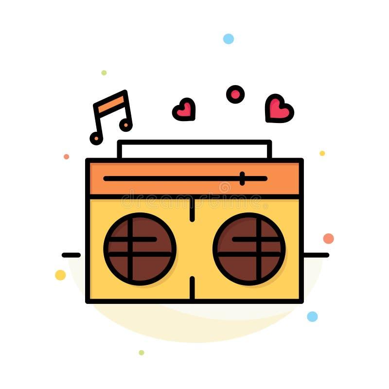 Radio, amour, coeur, calibre plat d'icône de couleur d'abrégé sur mariage illustration de vecteur