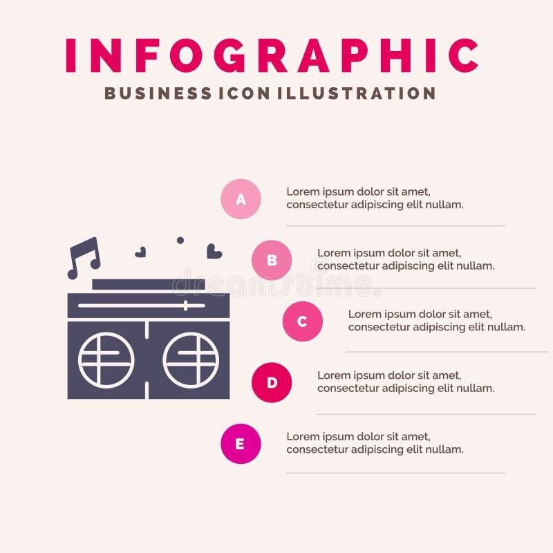 Radio, amour, coeur, fond solide de présentation d'étapes d'Infographics 5 d'icône de mariage illustration de vecteur