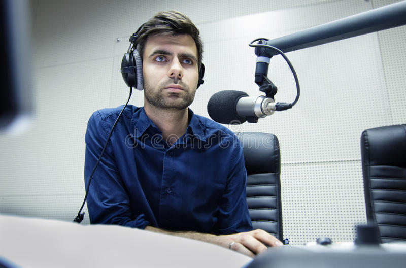Radio anchorman hosts the program. On air royalty free stock images