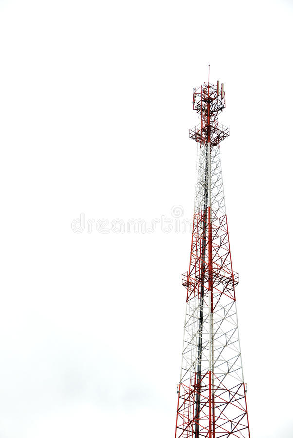 Radio Antenna. An tall-isolated radio antenna royalty free stock photos