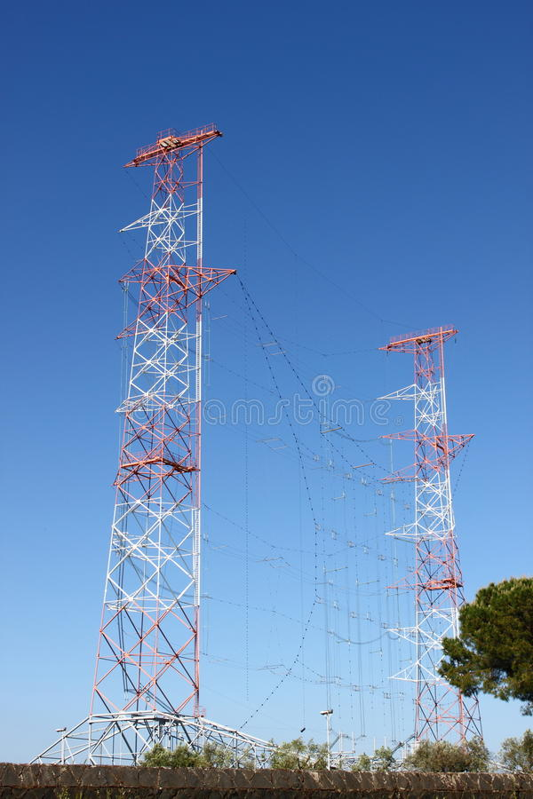 Radio antenna. High power radio antenna communication towers stock images