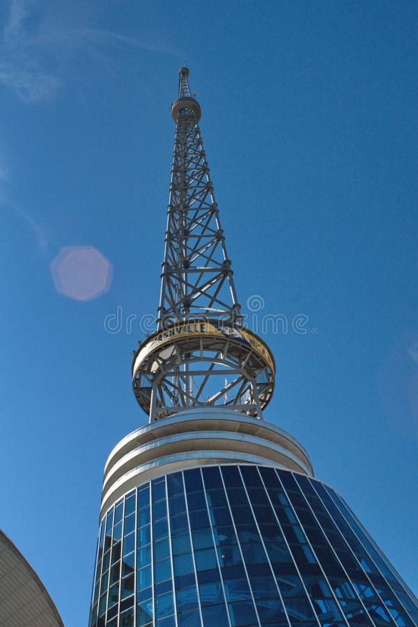 Radio antenna in Nashville. Radio antenna against a clear blue sky in the tourist district in Nashville, Tennessee, USA stock image