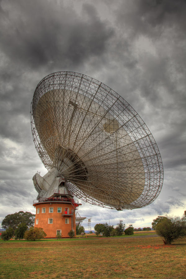 Radio Antenna Dish. Near Parkes, New South Wales, Australia. On stormy day royalty free stock photography