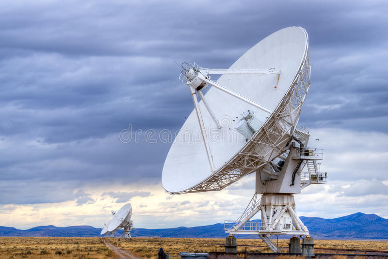 Radio antenna. Dishes of the Very Large Array radio telescope in New Mexico royalty free stock photography