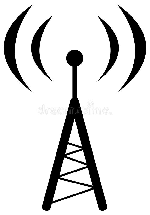 Radio antenna symbol. Illustration of radio antenna symbol. (Isolated