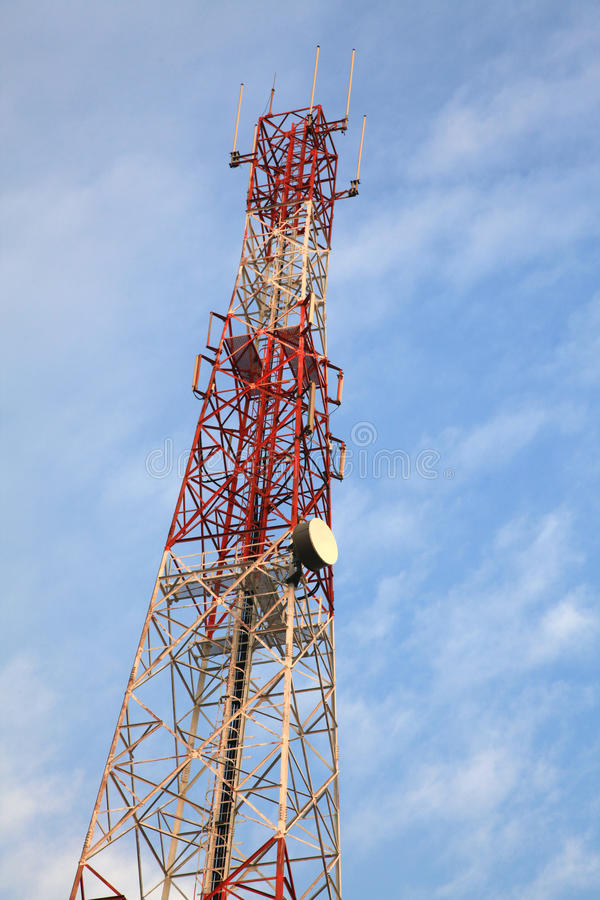 Radio antenna Tower. Telecommunication Radio antenna Tower with blue sky stock images