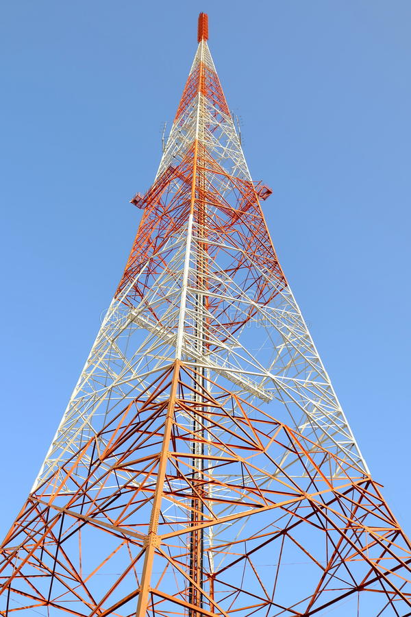 Radio Antenna Tower. Radio Antenna Tower with Blue Sky Background stock images