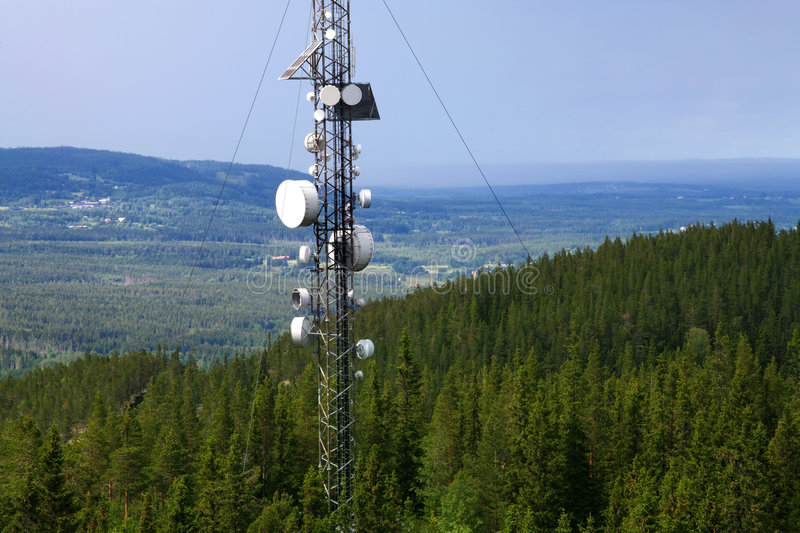 Radio base station. Photo o a radio base station in north Sweden stock images