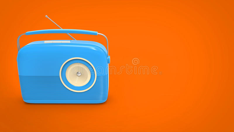 Radio bleue fraîche de vintage illustration stock