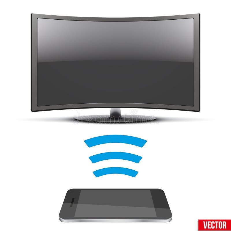 Radio commandant la TV menée moderne avec le smartphone illustration libre de droits
