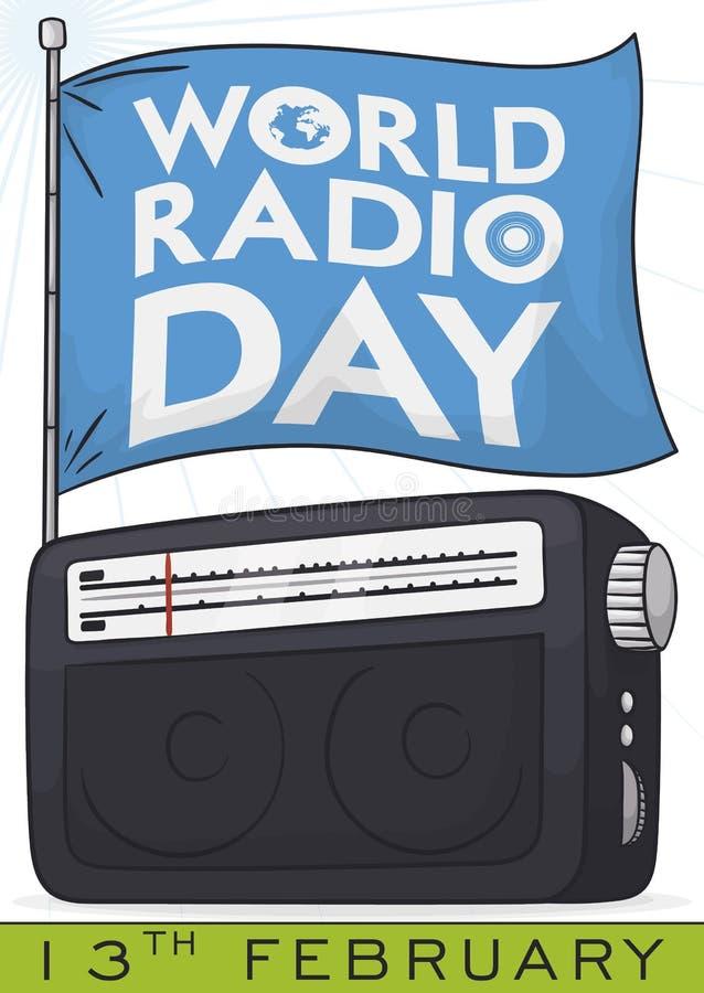 Radio with Commemorative Flag to Commemorate World Radio Day, Vector Illustration vector illustration