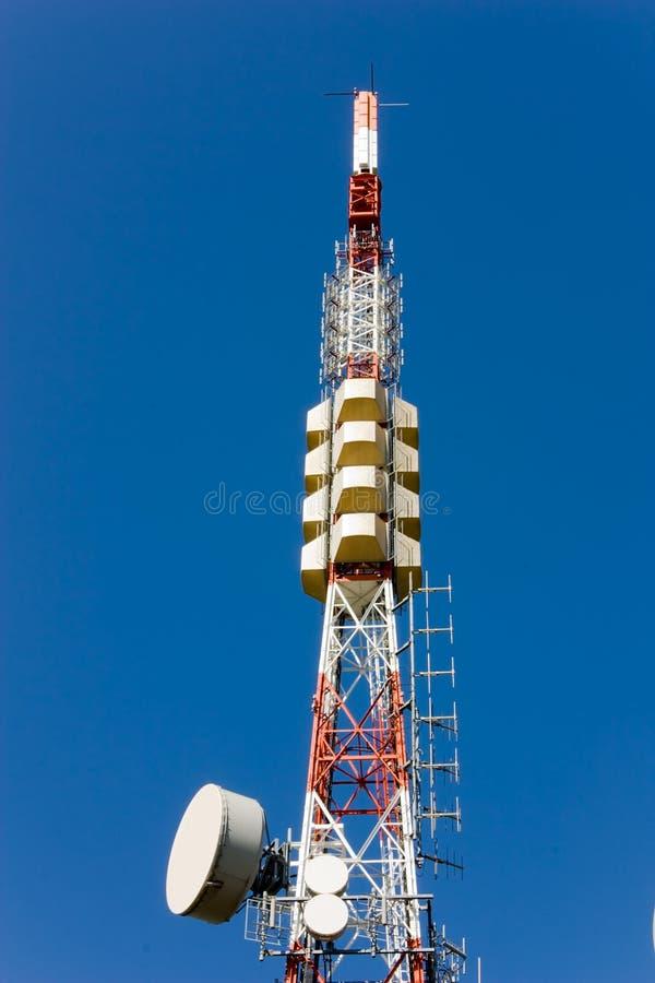 Radio communication. Relay station, pylon with aerials for radio television transmission stock photo