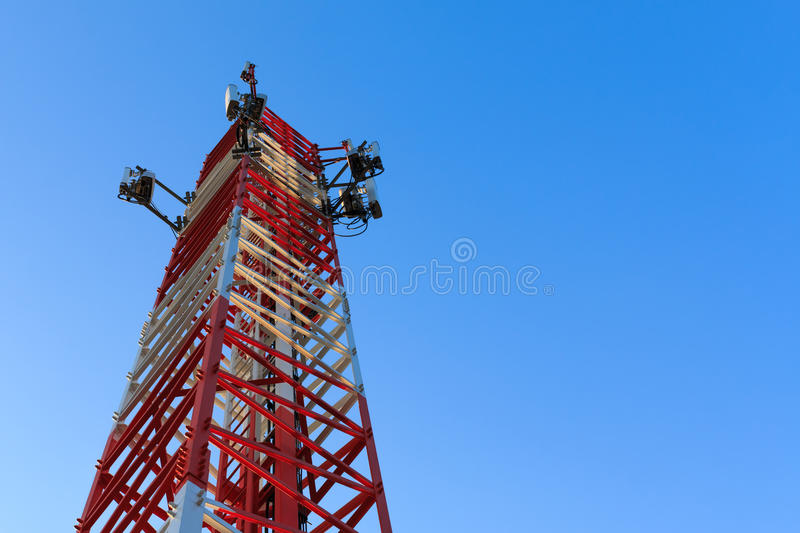 Radio communications tower stock image