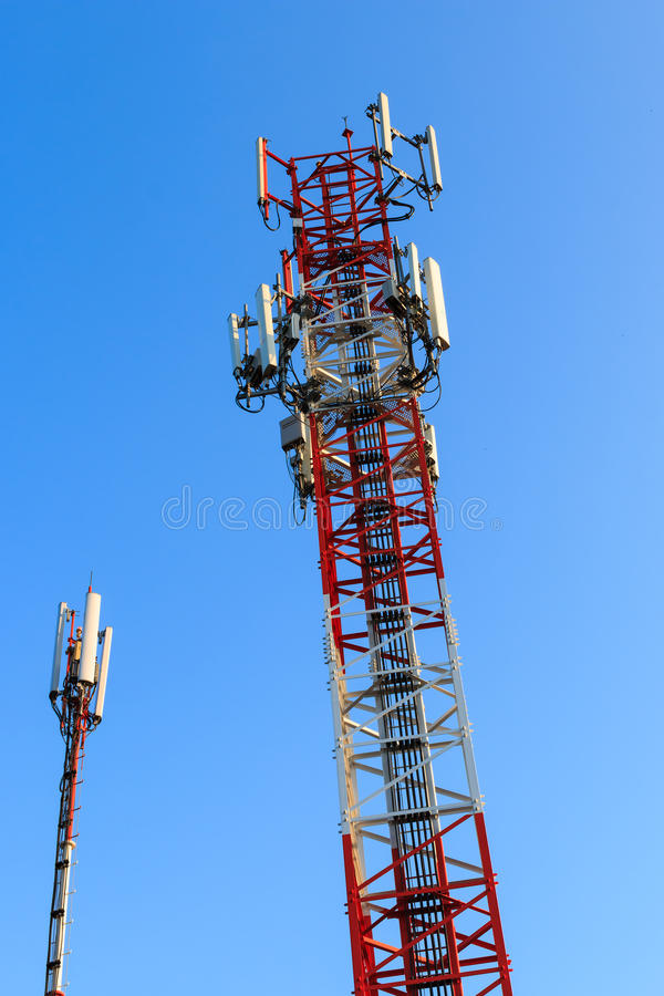 Radio communications towers royalty free stock photos