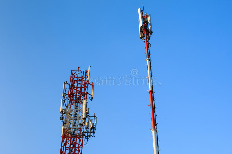 Radio communications towers stock images
