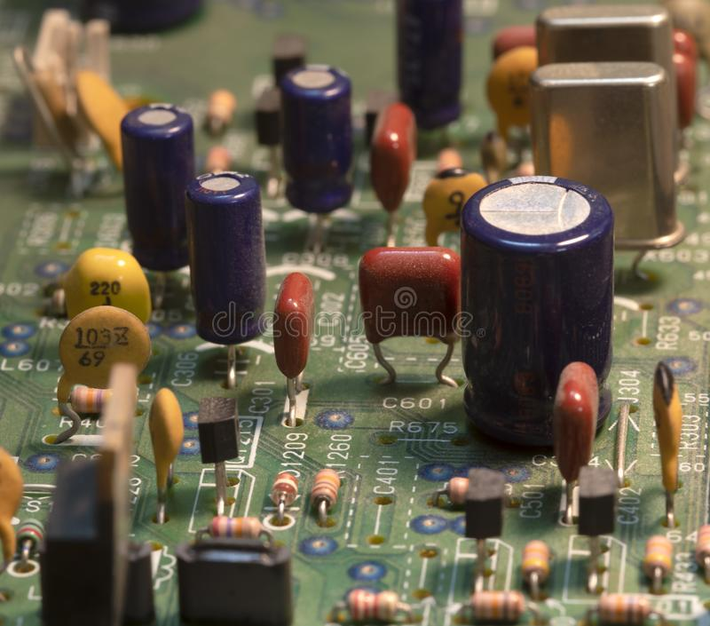 Radio components on a printed circuit board. stock images