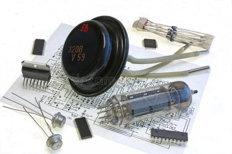 Radio components on the scheme royalty free stock photos