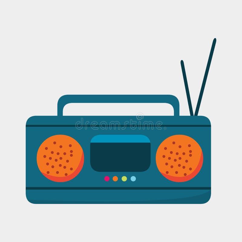 Radio con el ejemplo del vector del símbolo de la antena ilustración del vector