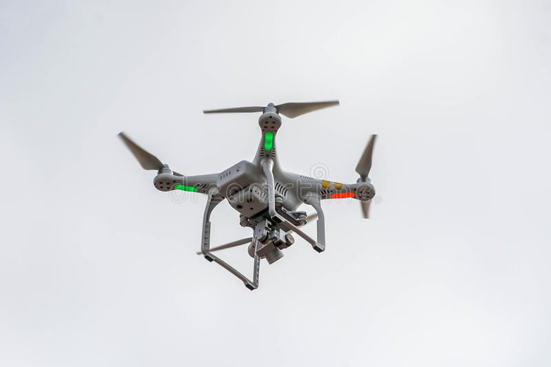 Radio controlled flying quad copter royalty free stock photo