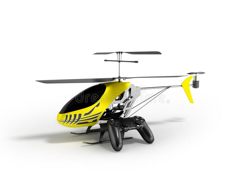Concept modern helicopter on control panel yellow 3d render on white background with shadow stock illustration