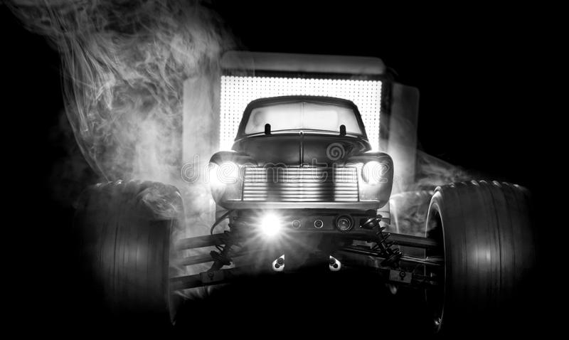Radio Controlled Monster truck in Black and White royalty free stock images