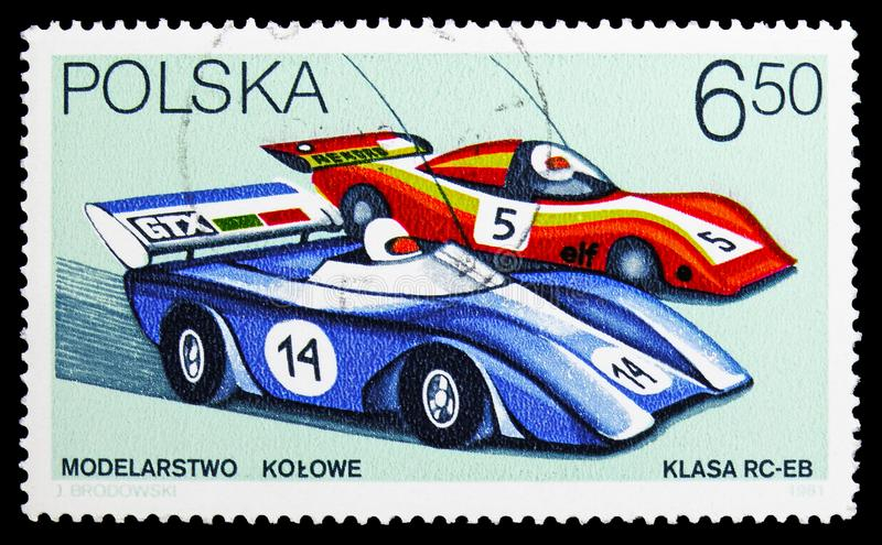 Radio-controlled racing cars, Models serie, circa 1981. MOSCOW, RUSSIA - SEPTEMBER 15, 2018: A stamp printed in Poland shows Radio-controlled racing cars, Models stock images
