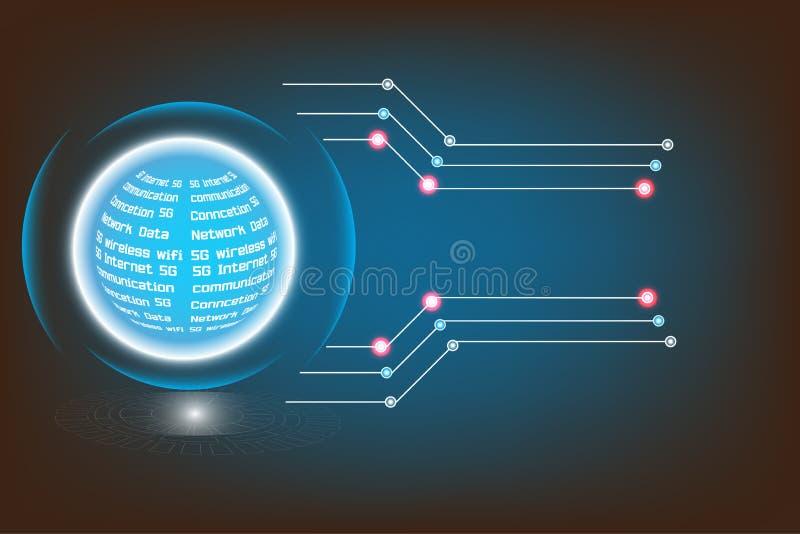 Radio de alta tecnología del conjunto de circuitos de la tecnología del vector del establecimiento de una red moderno de Internet libre illustration