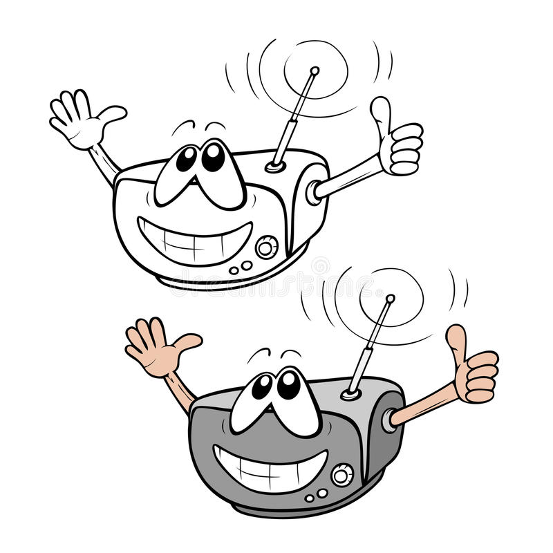 Dessin Anim 9 Mois: Radio De Dessin Animé Illustration De Vecteur