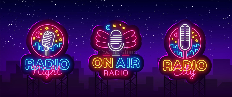 Radio de inzamelingsvector van het Neonteken De radioemblemen van het Nachtneon, ontwerpmalplaatje, modern tendensontwerp, Radion royalty-vrije illustratie
