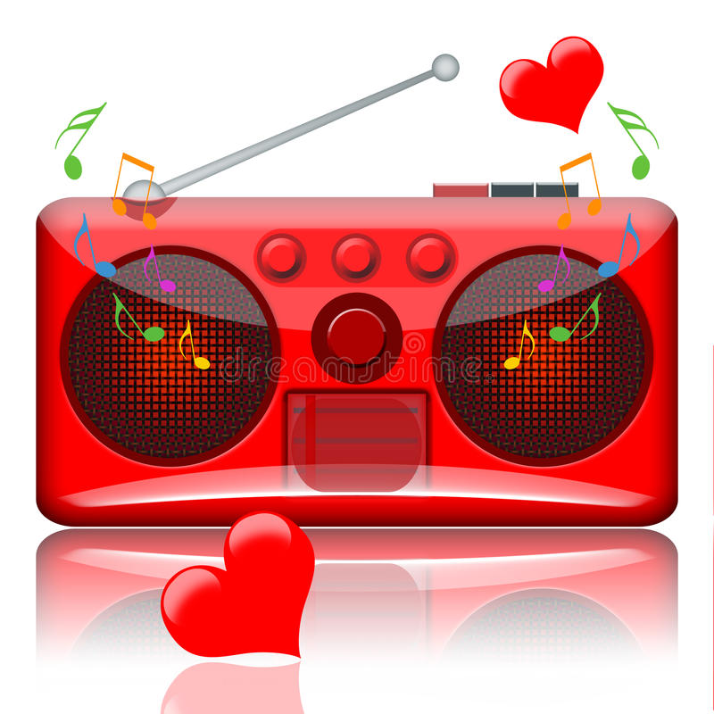 Radio de musique d'amour illustration stock