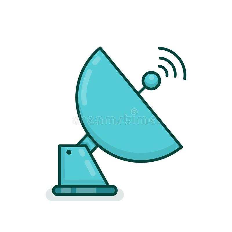 Radio de plat de communication d'antenne de satellite illustration de vecteur