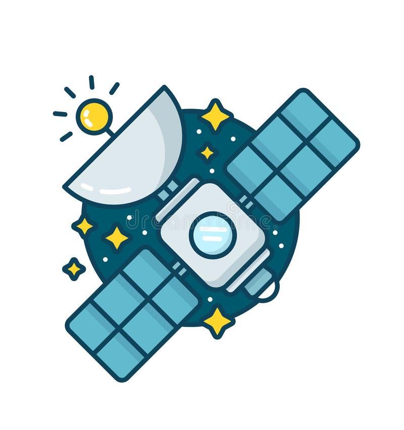 Radio de plat de communication par satellites de l'espace illustration stock