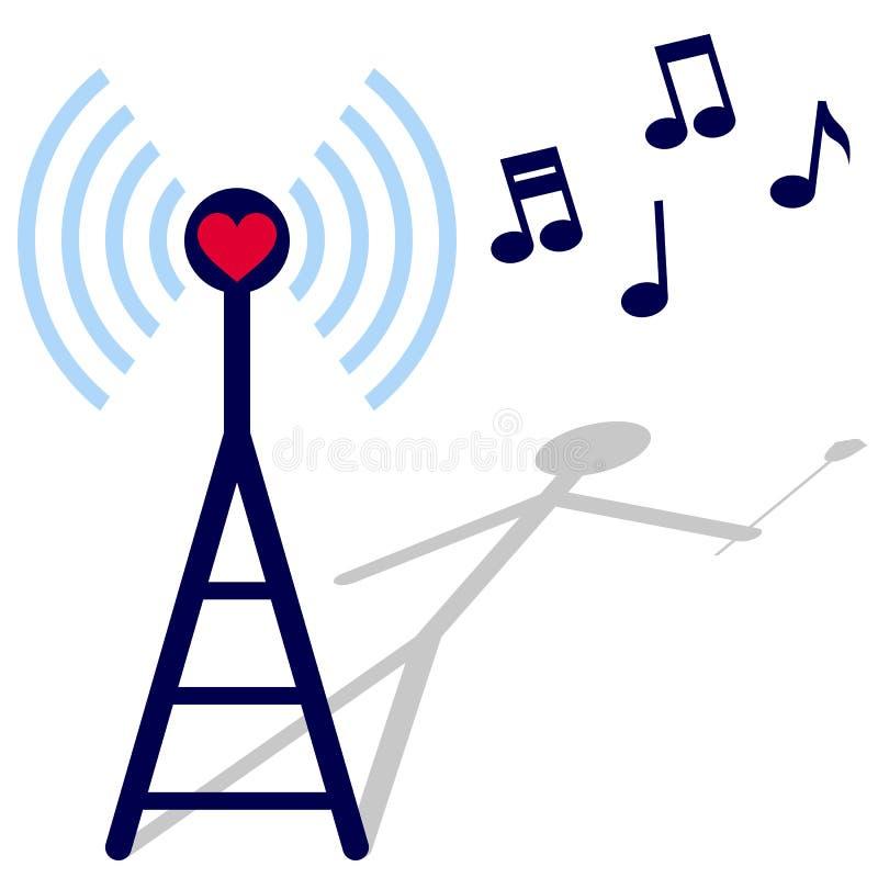 Radio del amor stock de ilustración