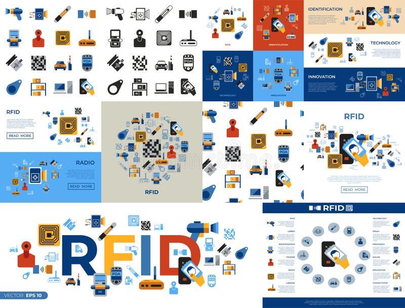 Radio del rfid del vector de Digitaces libre illustration