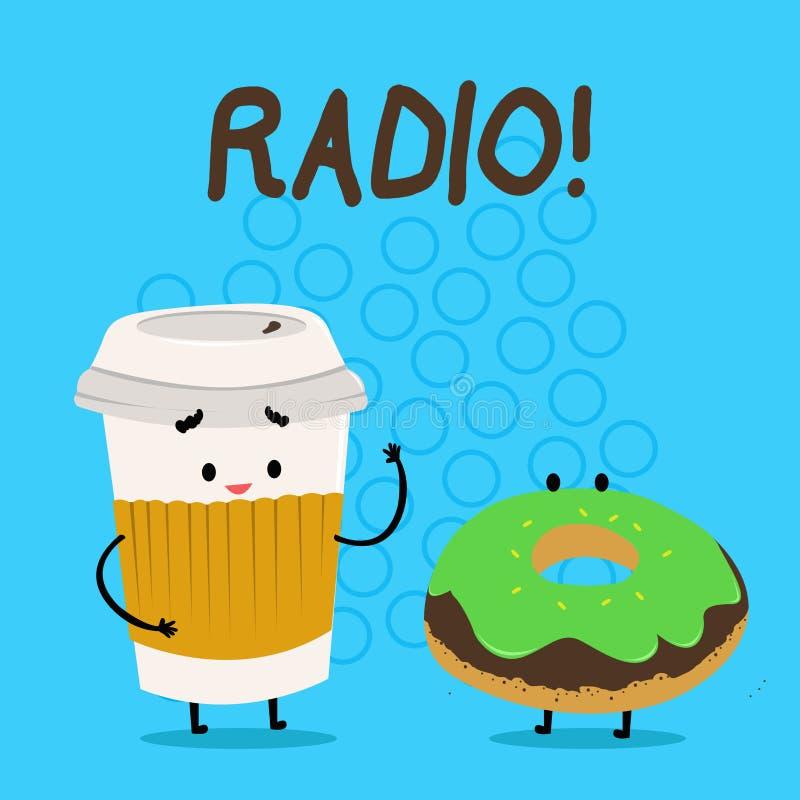 Radio del testo della scrittura L'attrezzatura elettronica di significato di concetto utilizzata per ascoltare i programmi di rad illustrazione di stock