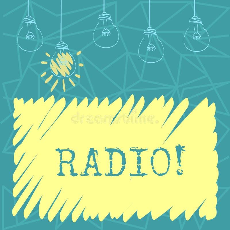 Radio del testo della scrittura L'attrezzatura elettronica di significato di concetto utilizzata per ascoltare le manifestazioni  illustrazione di stock