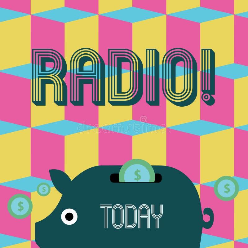 Radio del testo di scrittura di parola Concetto di affari per attrezzatura elettronica utilizzata per ascoltare le manifestazioni royalty illustrazione gratis